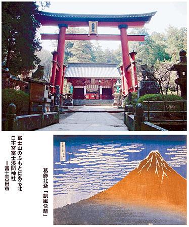 北口本宮富士浅間神社、葛飾北斎「凱風快晴」