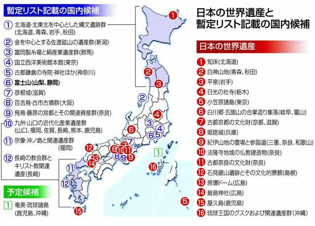 日本の世界遺産と暫定リスト記載の国内候補