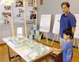 ギャラリーに設置された上吉田地域の模型=富士吉田市上吉田