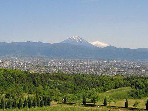 サントリー登美の丘ワイナリーからの富士