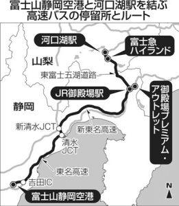 富士山静岡空港と河口湖駅を結ぶ高速バスの停留所とルート
