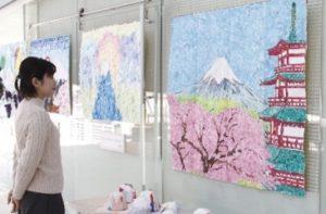 富士山がテーマ、貼り絵12点展示