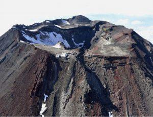 登山客のにぎわいが消えた富士山頂=山日YBSヘリ「ニュースカイ」(NEWSKY)から