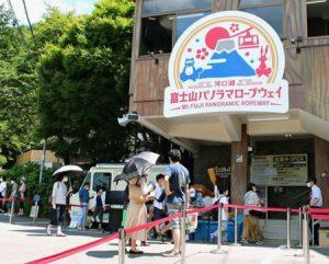 近隣からの観光客でにぎわう「河口湖 富士山パノラマロープウェイ」=富士河口湖町船津