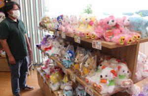 色とりどりの「ご当地ベア」が並ぶ店内=富士河口湖町大石