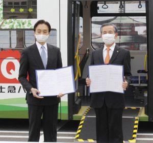 協定書に署名した堀内茂市長(右)と堀内光一郎社長=富士吉田市役所